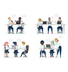Men and women people sitting working at desk and vector