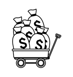Money bags over a wagon black and white vector