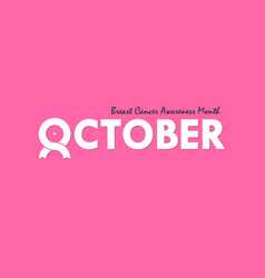October typographical amp ribbon iconbreast vector