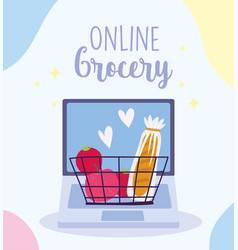 online market laptop basket with ingredients vector image