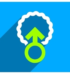 Ovum penetration flat square icon with long shadow vector