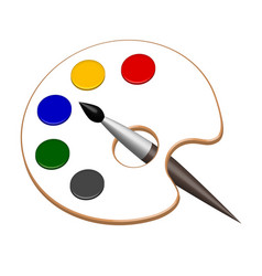 Palette with paints and brush in vector