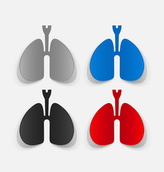 Paper clipped sticker lungs vector