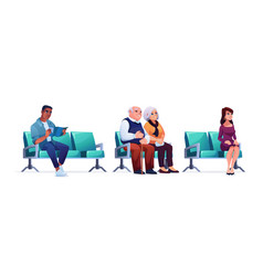 people waiting in queue line in hospital seats vector image