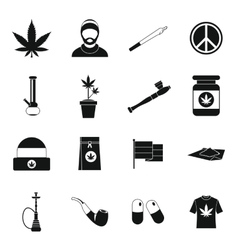 Rastafarian icons set simple style vector