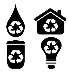 recycle symbol icons set vector image