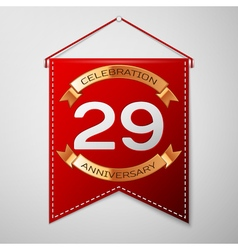 Red pennant with inscription Twenty nine Years vector