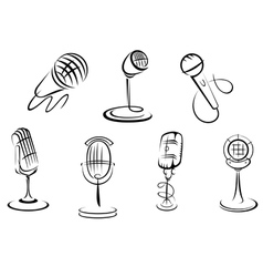 Retro microphones vector