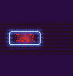Retro neon sign with word bar on wall vector