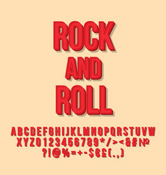 rock and roll red vintage 3d lettering vector image