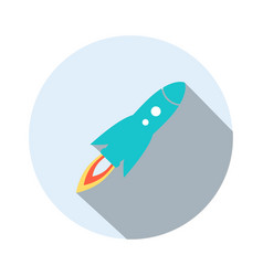 rocket launch icon in flat style vector image