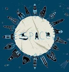rocket space circle vector image