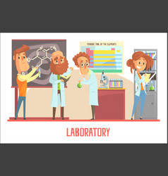 scientists characters conducting research in a lab vector image