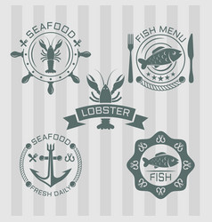 seafood set colored emblems vector image