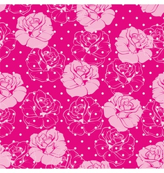 Seamless floral pattern with pink roses and dots vector image