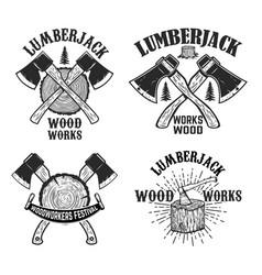 Set crossed lumberjack axes on wooden stump vector