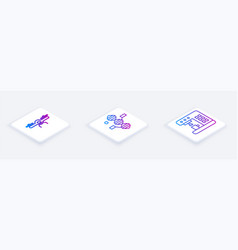 Set isometric line drone flying dna symbol and vector