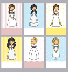Set of 6 first communion girl cards vector