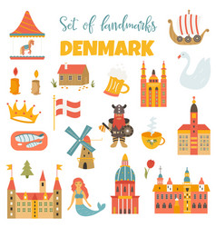 set of danish landmark famous places symbols vector image