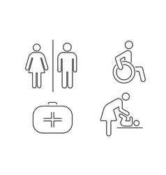 Set of icons for public toilet linear vector