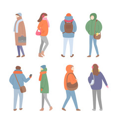 set of people in warm clothes full length vector image