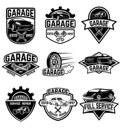 Set of vintage car service labels design elements vector