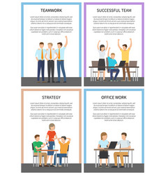 Set office team work successful strategy cards vector