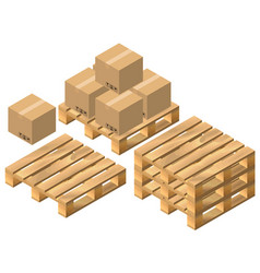 Set pallet and cardboard boxes vector