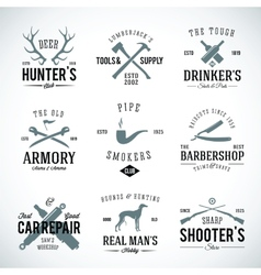 Set vintage labels with retro typography vector