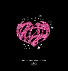 Shimmering valentine day card on black background vector
