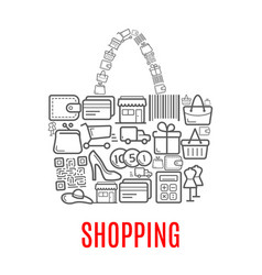 shopping retail selling poster of shop bag vector image