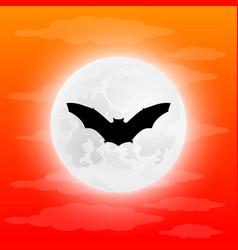 silhouette bat in full moon vector image