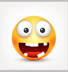 smileysmiling happy emoticon with teeth yellow vector image