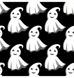 Smiling ghosts in white capes pattern vector image