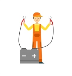 Smiling Mechanic Charging The Battery In The vector image