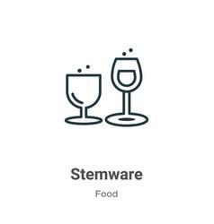 Stemware outline icon thin line black stemware vector