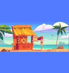 summer beach with tiki bar and girl in bikini vector image