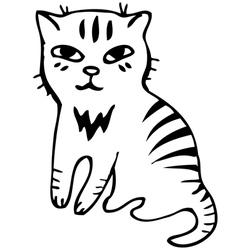 Tabby cat Black outline sketch vector