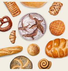 Tasty bakery top view vector