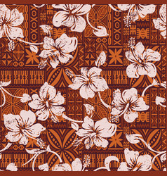 Tribal vintage hawaiian hibiscus flowers wallpaper vector