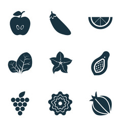 Vegetable icons set with sorrel pattionson clove vector