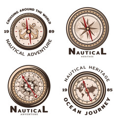 Vintage colored nautical round emblems set vector