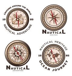 vintage colored nautical round emblems set vector image