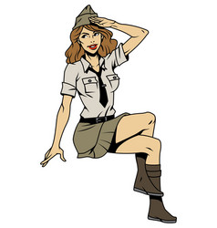 Vintage pin up soldier saluting girl vector