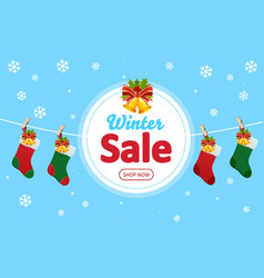 winter sale online shopping web banner and red vector image