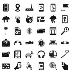 Wireless widget icons set simple style vector