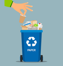 woman hand throws garbage vector image