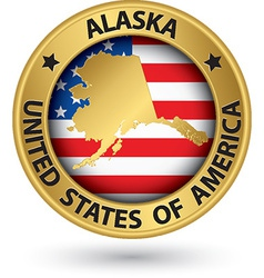 Alaska state gold label with state map vector image vector image