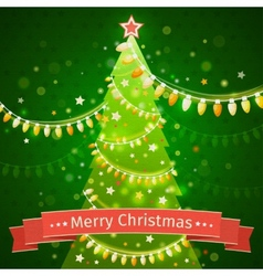 Christmas tree on a dark green background canvas vector image