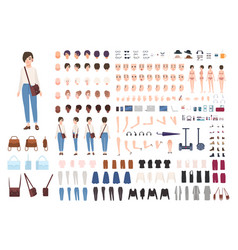city woman character constructor nice girl vector image vector image